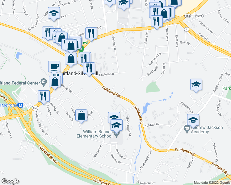 map of restaurants, bars, coffee shops, grocery stores, and more near 5100 Suitland Rd in Suitland