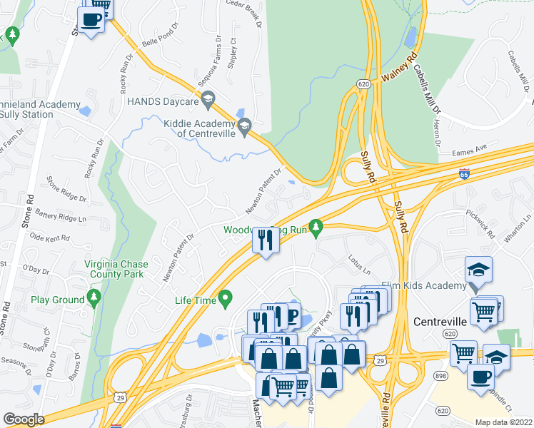 map of restaurants, bars, coffee shops, grocery stores, and more near 5729-5731 Heritage Crossing Court in Centreville