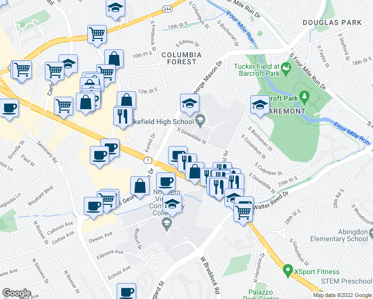 map of restaurants, bars, coffee shops, grocery stores, and more near in Alexandria