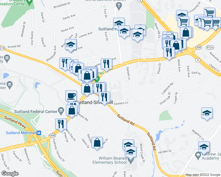 map of restaurants, bars, coffee shops, grocery stores, and more near 3000 Victory Lane in Suitland-Silver Hill