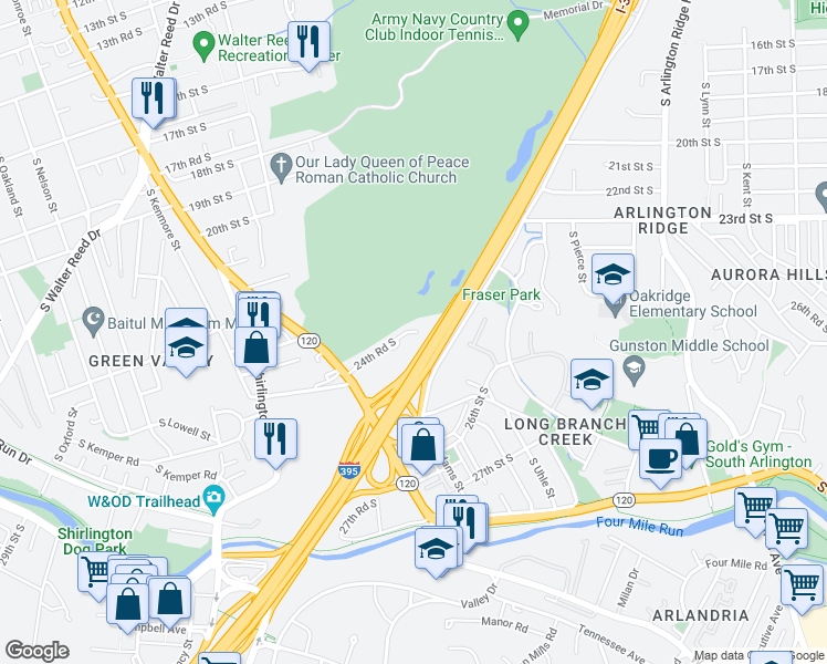 map of restaurants, bars, coffee shops, grocery stores, and more near Henry G Shirley Memorial Highway in Arlington