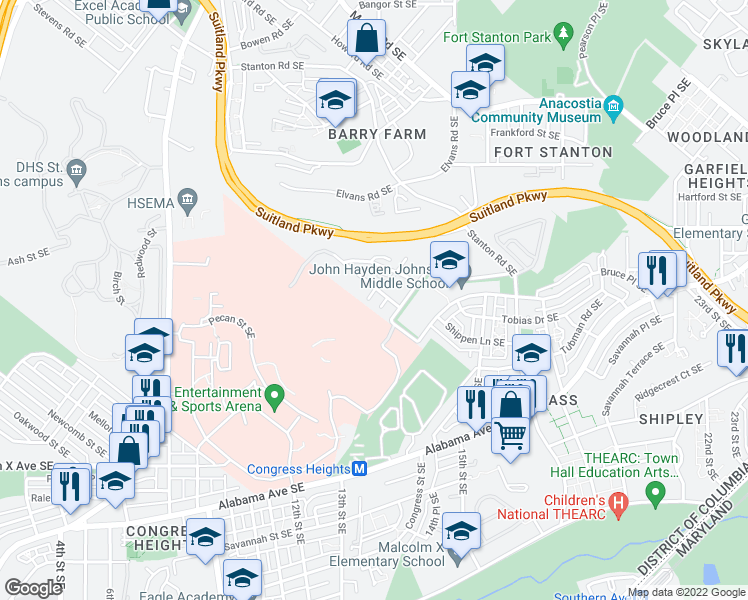 map of restaurants, bars, coffee shops, grocery stores, and more near 2835-2841 Robinson Place Southeast in Washington