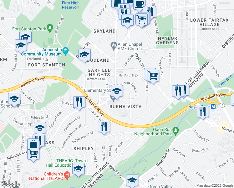 map of restaurants, bars, coffee shops, grocery stores, and more near 2701 James M McGee Junior Street Southeast in Washington