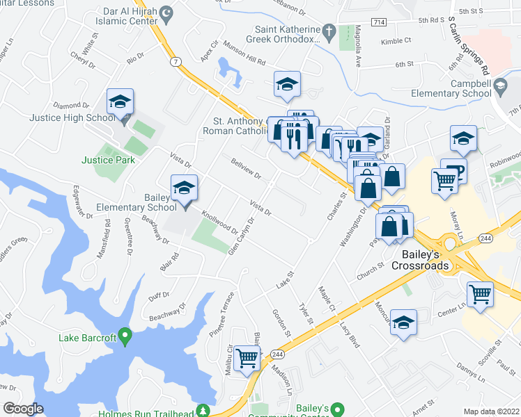 map of restaurants, bars, coffee shops, grocery stores, and more near 3343-3399 Glen Carlyn Dr in Bailey's Crossroads