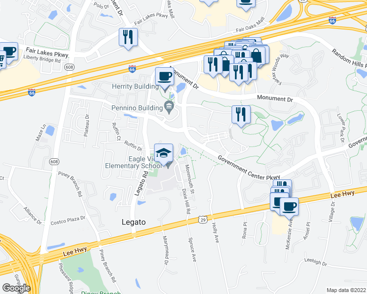map of restaurants, bars, coffee shops, grocery stores, and more near Government Center Pkwy in Fairfax