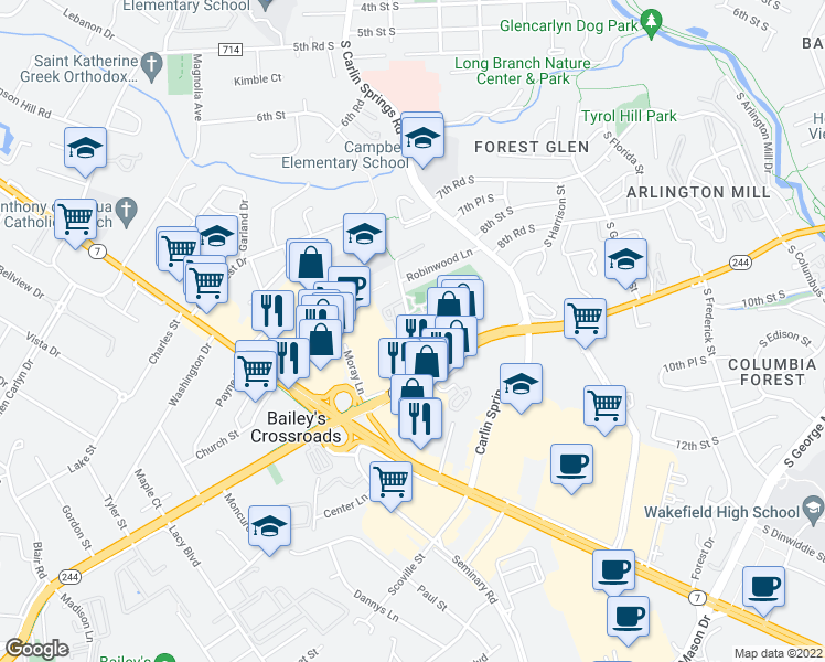 map of restaurants, bars, coffee shops, grocery stores, and more near 3455 Diehl Ct in Falls Church