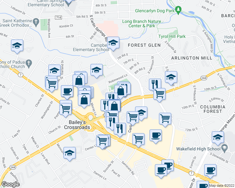 map of restaurants, bars, coffee shops, grocery stores, and more near 5652 Columbia Pike in Falls Church