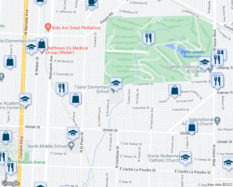 map of restaurants, bars, coffee shops, grocery stores, and more near 1401-1499 E Buena Ventura St in Colorado Springs