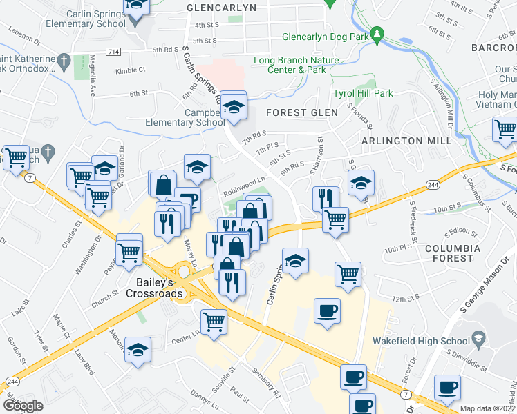 map of restaurants, bars, coffee shops, grocery stores, and more near 3403 Carlyn Hill Drive in Falls Church