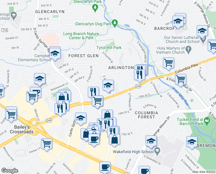 map of restaurants, bars, coffee shops, grocery stores, and more near 880 South Greenbrier Street in Arlington