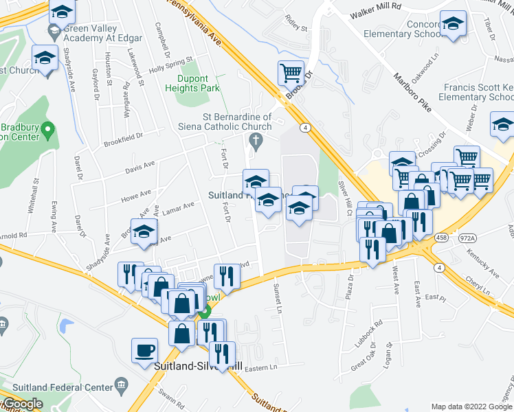 map of restaurants, bars, coffee shops, grocery stores, and more near 2614-2668 Brooks Drive in Suitland-Silver Hill