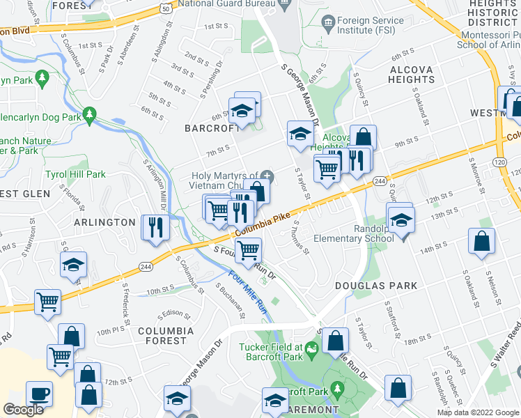 map of restaurants, bars, coffee shops, grocery stores, and more near 4351-4599 Columbia Pike in Arlington