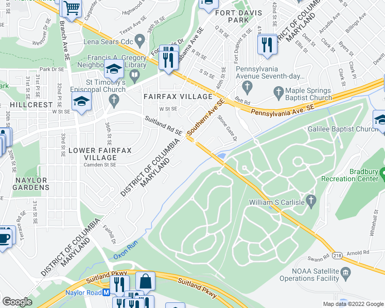 map of restaurants, bars, coffee shops, grocery stores, and more near 3901 Suitland Rd in Suitland