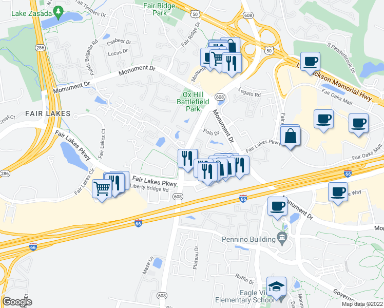 map of restaurants, bars, coffee shops, grocery stores, and more near 12205-12231 Pender Creek Cir in Fairfax
