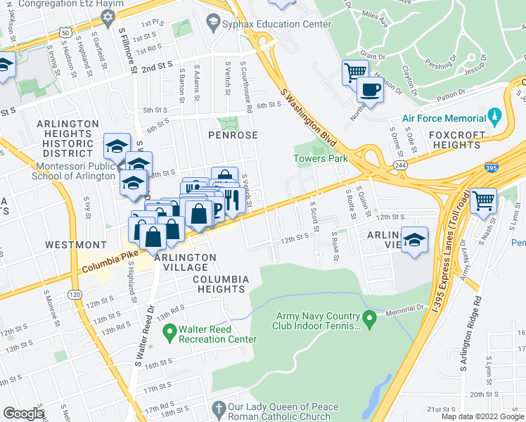 map of restaurants, bars, coffee shops, grocery stores, and more near 2112 Columbia Pike in Arlington