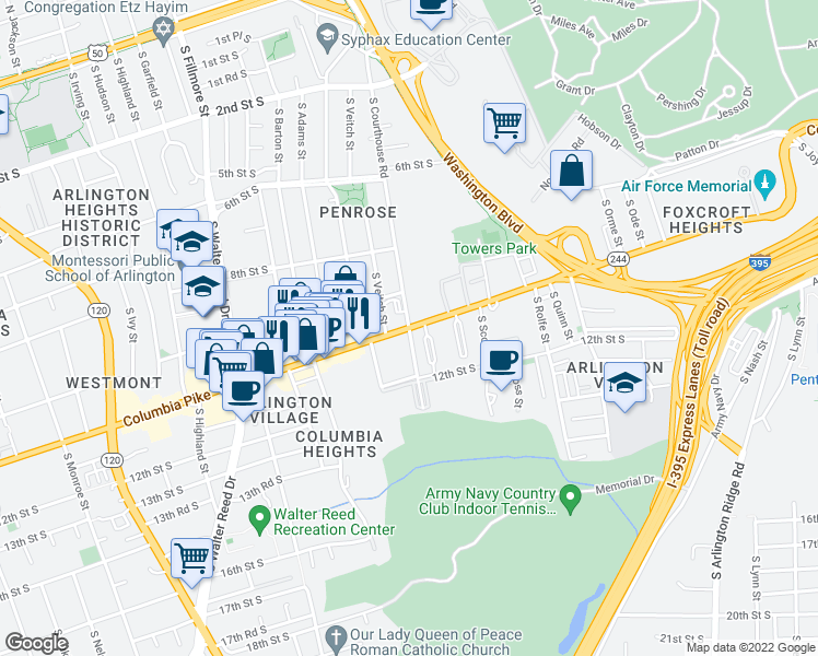 map of restaurants, bars, coffee shops, grocery stores, and more near Columbia Pike & S Courthouse Rd in Arlington