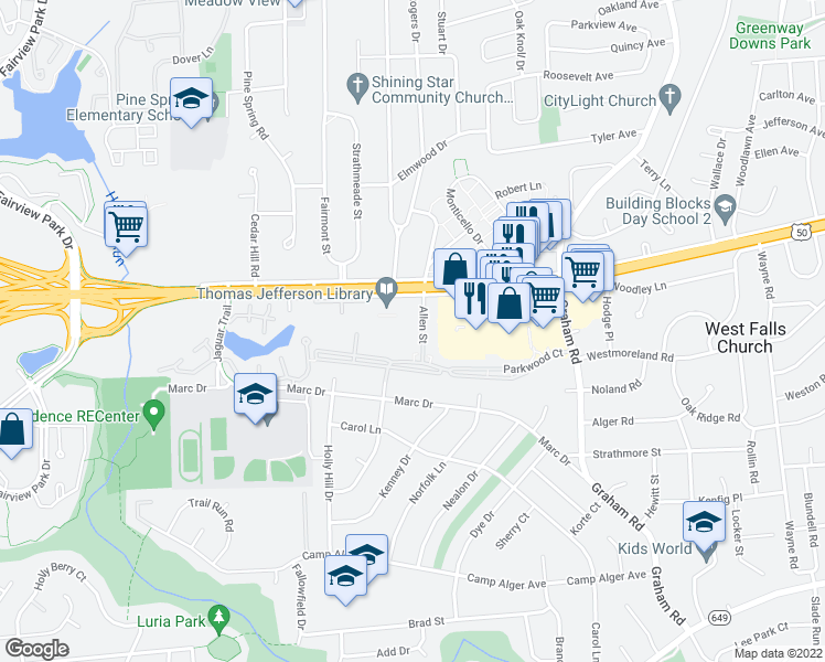 map of restaurants, bars, coffee shops, grocery stores, and more near 3200-3222 Allen Street in Falls Church