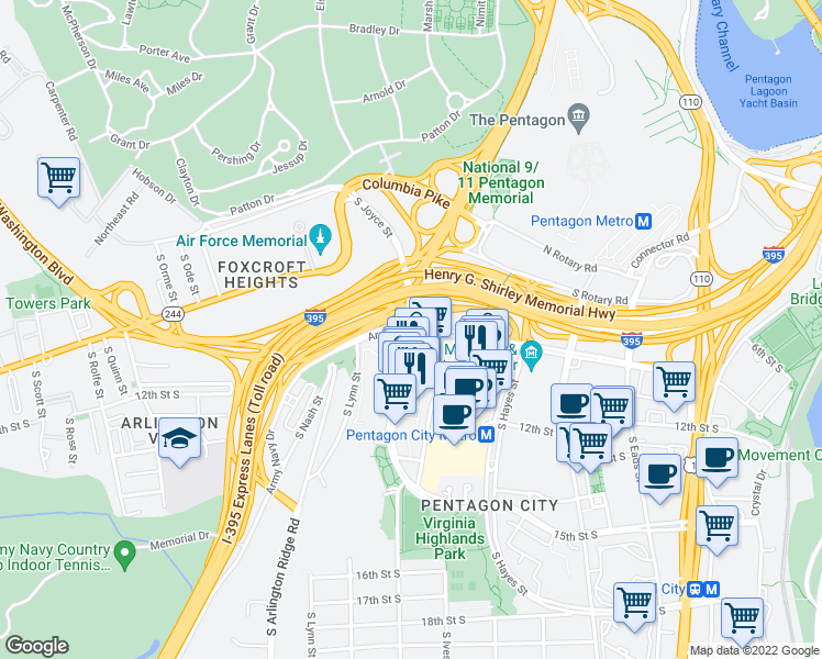 map of restaurants, bars, coffee shops, grocery stores, and more near 801-899 S Joyce St in Arlington