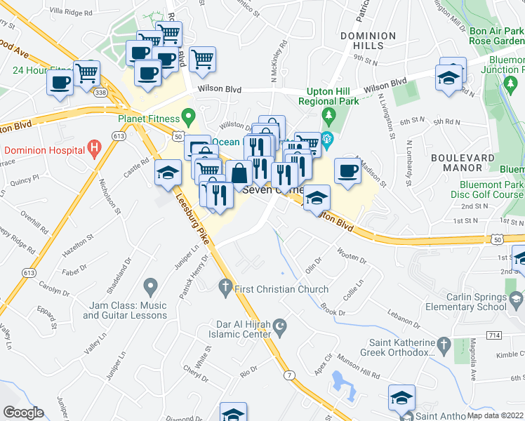 map of restaurants, bars, coffee shops, grocery stores, and more near 3018 Patrick Henry Drive in Falls Church