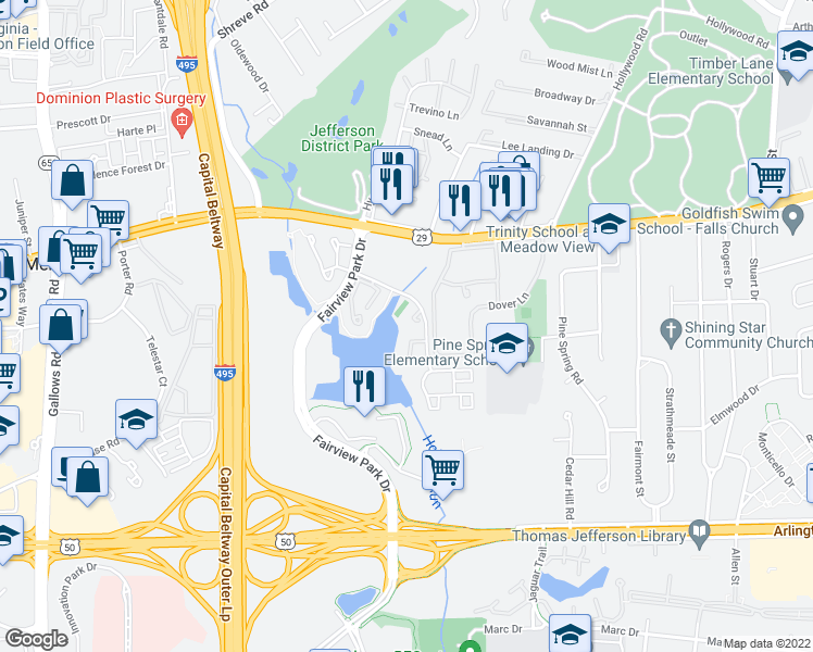 map of restaurants, bars, coffee shops, grocery stores, and more near 2918 Montauk Ct in Falls Church
