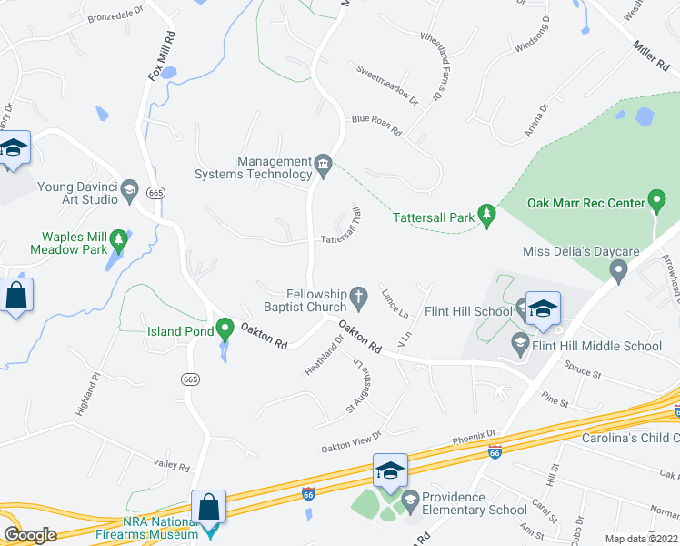 map of restaurants, bars, coffee shops, grocery stores, and more near 3411 Miller Heights Rd in Oakton