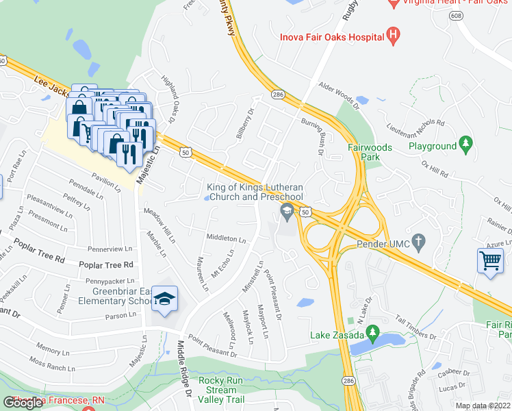 map of restaurants, bars, coffee shops, grocery stores, and more near Middle Ridge Dr & Melvue Ct in Chantilly