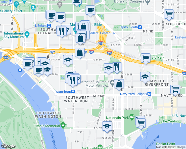 map of restaurants, bars, coffee shops, grocery stores, and more near 201 I St SW in Washington D.C.