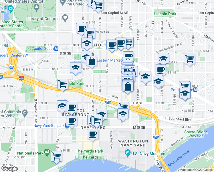 map of restaurants, bars, coffee shops, grocery stores, and more near G Street Southeast & 6th Street Southeast in Washington