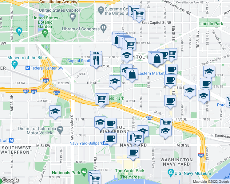map of restaurants, bars, coffee shops, grocery stores, and more near 225 E Street Southeast in Washington