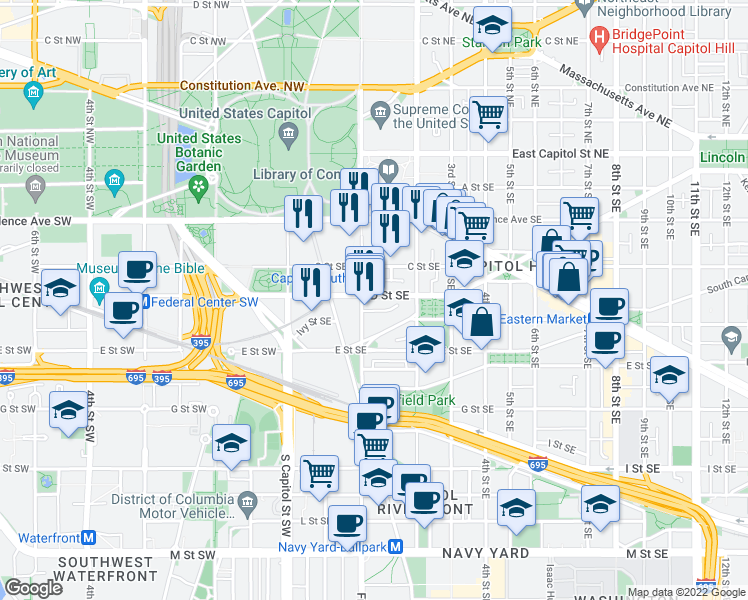 map of restaurants, bars, coffee shops, grocery stores, and more near D Street Southeast in Washington