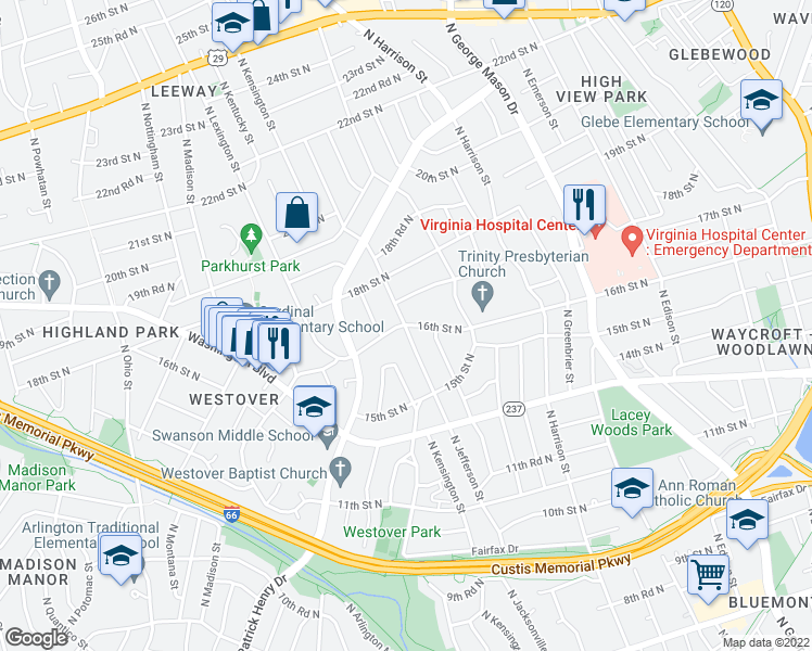 map of restaurants, bars, coffee shops, grocery stores, and more near N Jefferson St & 16th St N in Arlington