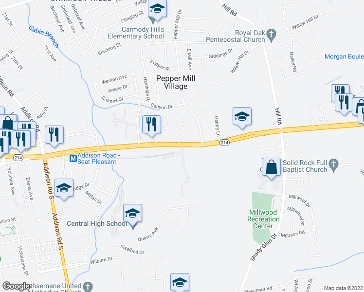 map of restaurants, bars, coffee shops, grocery stores, and more near 7101-7107 Central Avenue in Capitol Heights