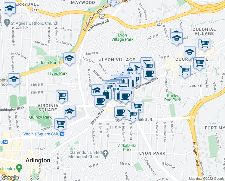 map of restaurants, bars, coffee shops, grocery stores, and more near 3101 Wilson Boulevard in Arlington