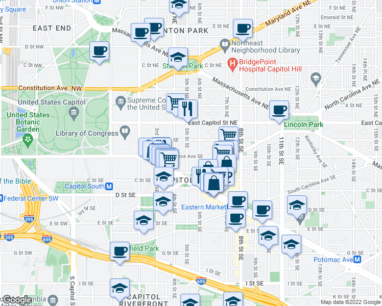 map of restaurants, bars, coffee shops, grocery stores, and more near 504 Independence Avenue Southeast in Washington