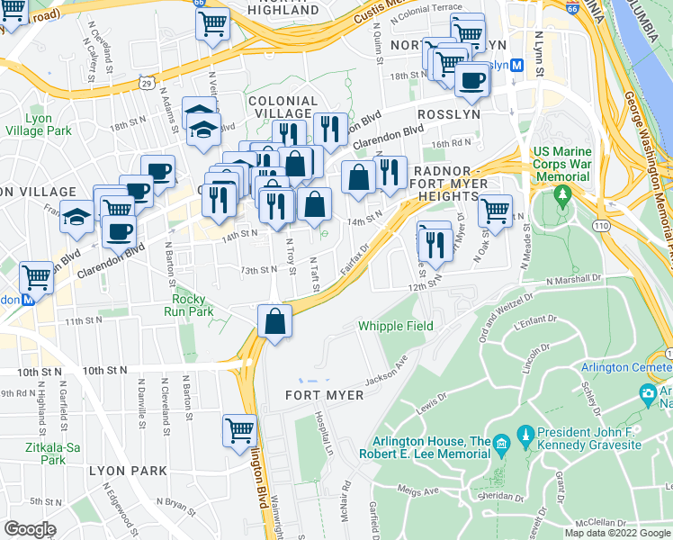 map of restaurants, bars, coffee shops, grocery stores, and more near Arlington Boulevard in Arlington