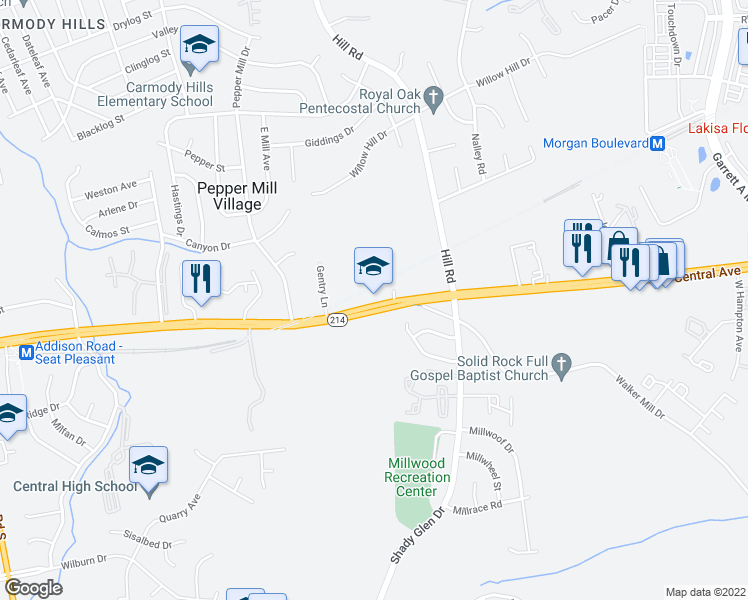 map of restaurants, bars, coffee shops, grocery stores, and more near 7220 Central Ave in Capitol Heights