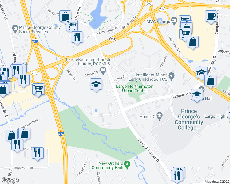 map of restaurants, bars, coffee shops, grocery stores, and more near 157-319 Harry S Truman Drive in Largo