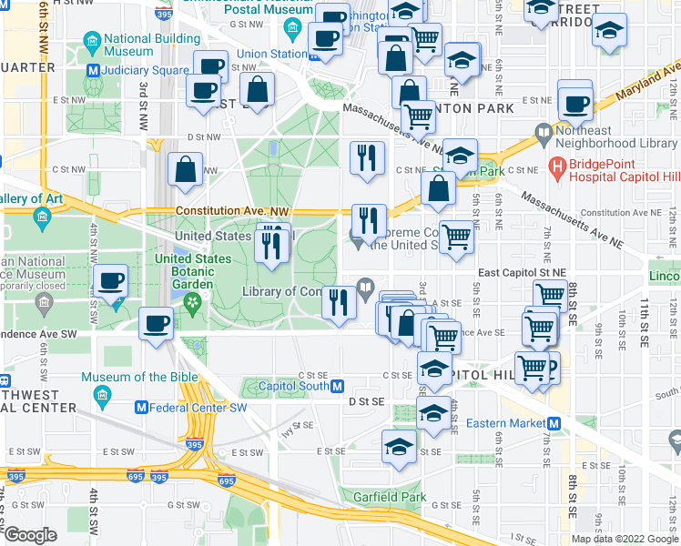 map of restaurants, bars, coffee shops, grocery stores, and more near East Capitol Street Northeast & 1st St NE in Washington