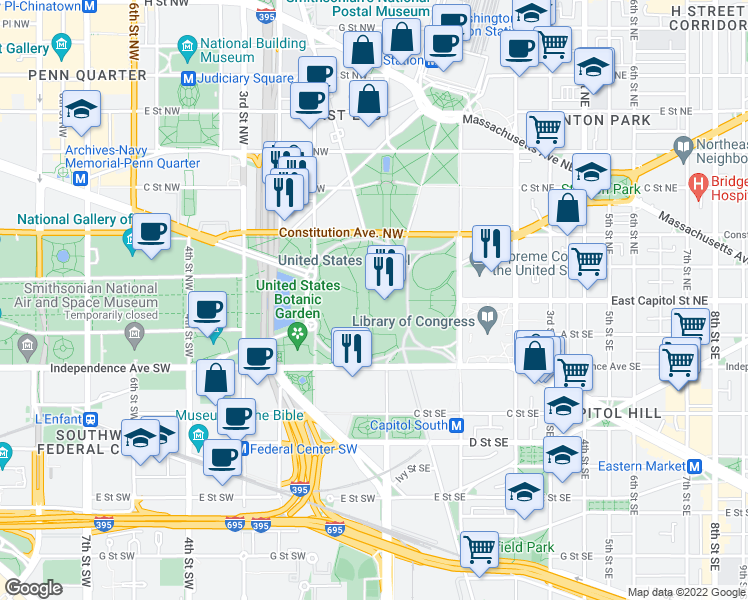map of restaurants, bars, coffee shops, grocery stores, and more near None in Washington