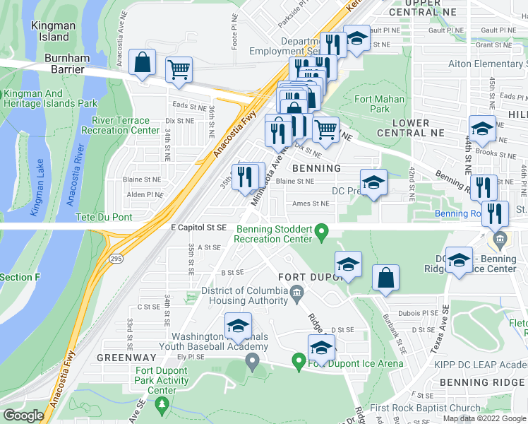 map of restaurants, bars, coffee shops, grocery stores, and more near 18 Anacostia Rd NE in Washington