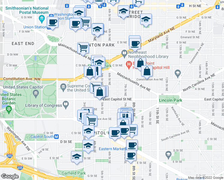 map of restaurants, bars, coffee shops, grocery stores, and more near 601 A St NE in Washington