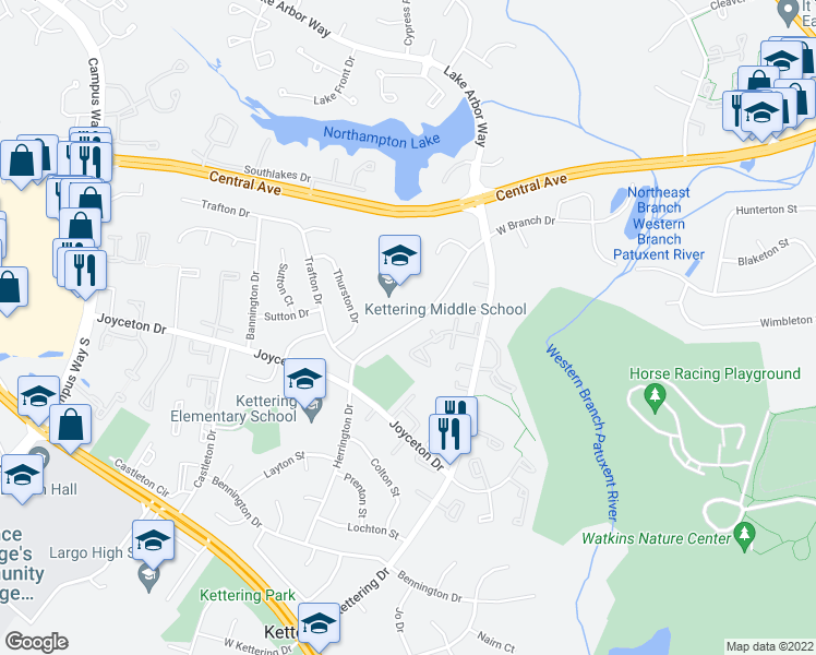 map of restaurants, bars, coffee shops, grocery stores, and more near 64 Herrington Drive in Upper Marlboro