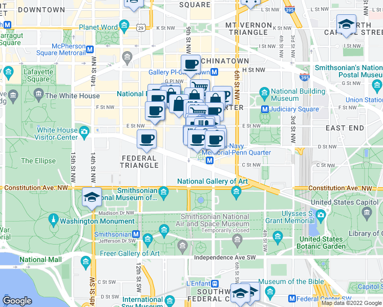 map of restaurants, bars, coffee shops, grocery stores, and more near 801 Pennsylvania Avenue Northwest in Washington