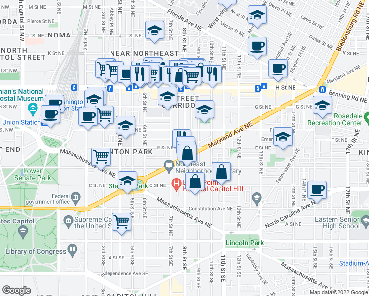 map of restaurants, bars, coffee shops, grocery stores, and more near 8th Street Northeast & E Street Northeast in Washington