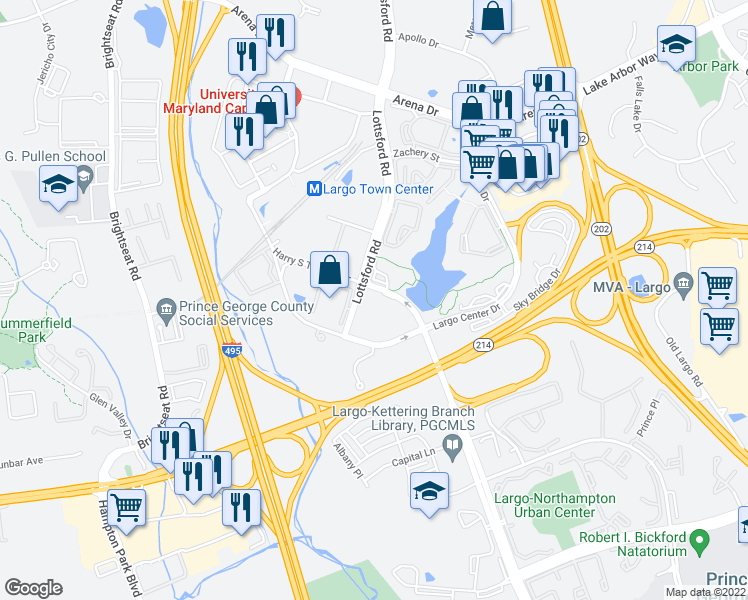 map of restaurants, bars, coffee shops, grocery stores, and more near 8831 Lottsford Road in Upper Marlboro