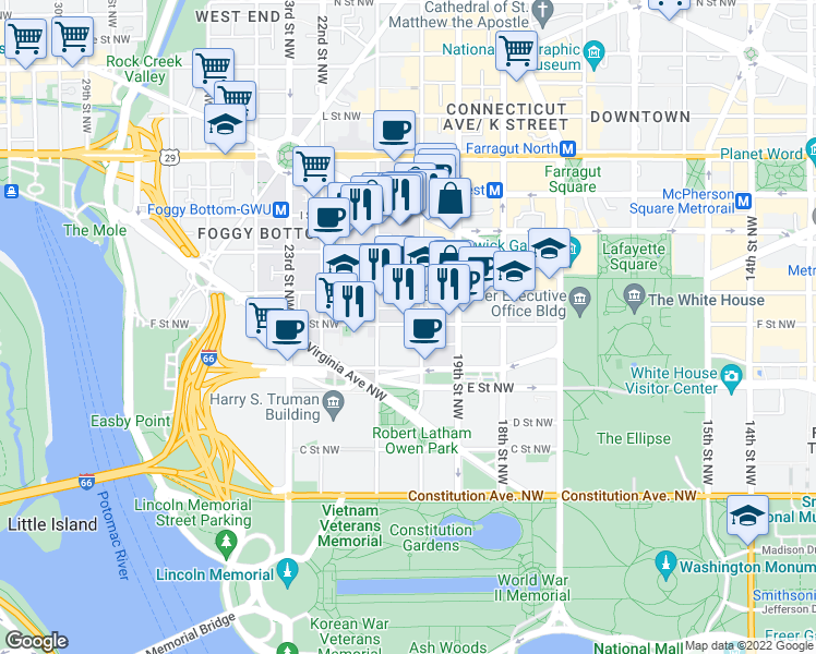 map of restaurants, bars, coffee shops, grocery stores, and more near 2020 G Street Northwest in Washington