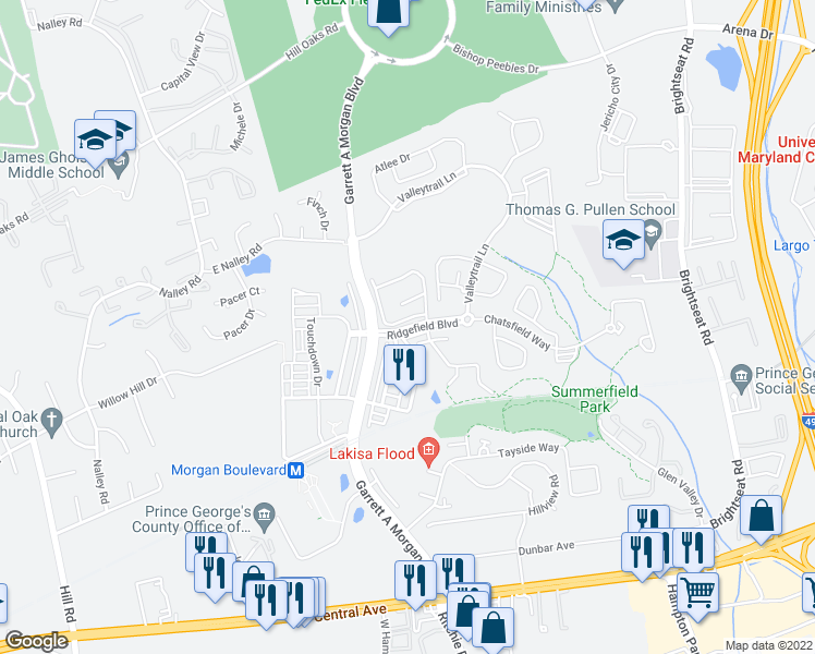map of restaurants, bars, coffee shops, grocery stores, and more near Ridgefield Blvd in Prince George's