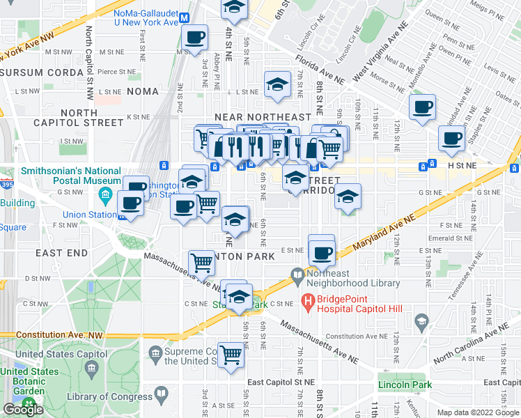 map of restaurants, bars, coffee shops, grocery stores, and more near 613 Morris Place Northeast in Washington