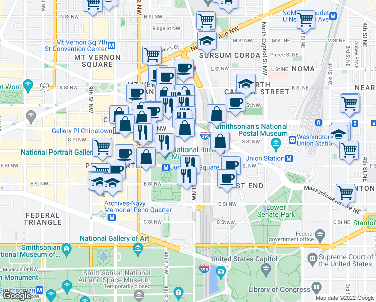 map of restaurants, bars, coffee shops, grocery stores, and more near 350 G St NW in Washington