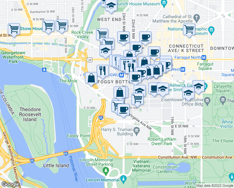 map of restaurants, bars, coffee shops, grocery stores, and more near 2300 H Street Northwest in Washington